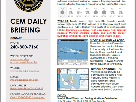CEM Daily Briefing | 31JUL19