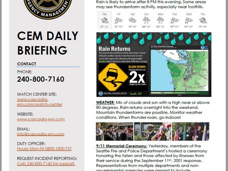 CEM Daily Briefing | 12SEP19