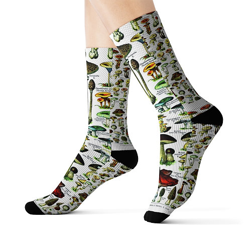 French Champignons (Mushrooms) Collage Print-Sublimation Socks