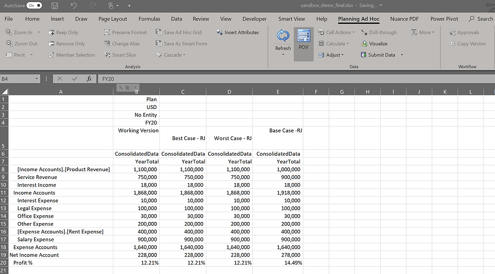 Ad hoc retrieve using Smart View in Excel and sandboxes.