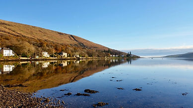Stunning view of the traditional Scottish village of  colintraive