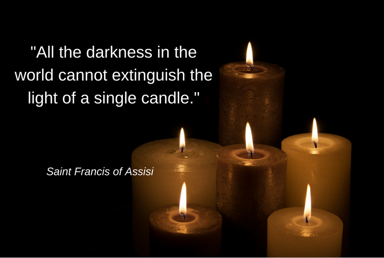 St. Francis quote on candles