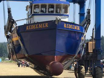 Launch of the F/V Redeemer after full sponson