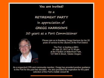 Invitation to Gregg Harrison's Port Commission Retirement Party