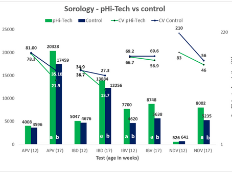 The serological advantage of vaccinating flock with pHi-Tech compared to a manual syringe
