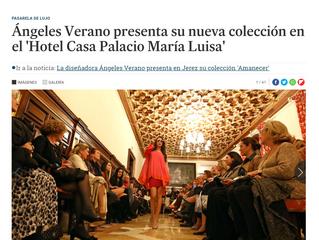 """Ángeles Verano presenta su nueva colección en el """"Hotel Casa Palacio Maria Luisa""""."""