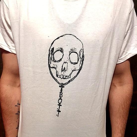 White Skull Rosary T Shirt