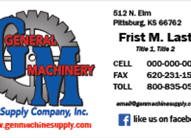 General Machinery Business Cards