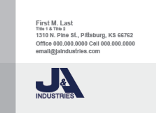J & A Industries Business Cards