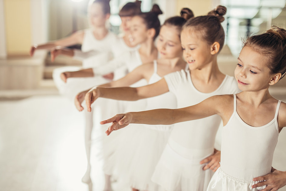 little kids ballerinas in studio, wearin