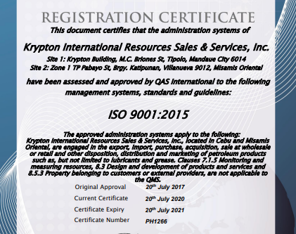 Four (4) years of being an ISO-Certified Company