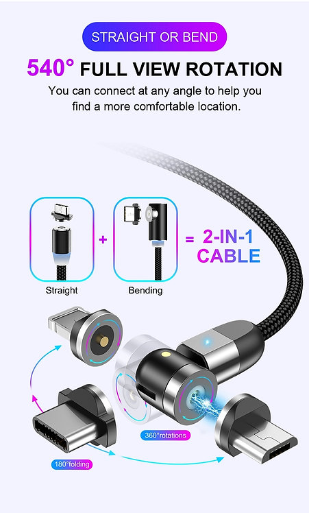 540º Magnetic Fast Charging 3 in 1 USB Cable
