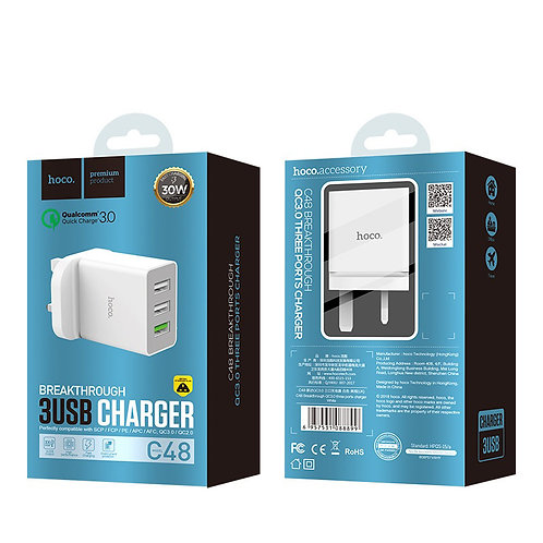 "HOCO Wall charger ""C48 Breakthrough"" three USB ports UK"