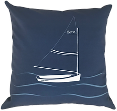 Chatham Sailboat on Navy Pillow Cover