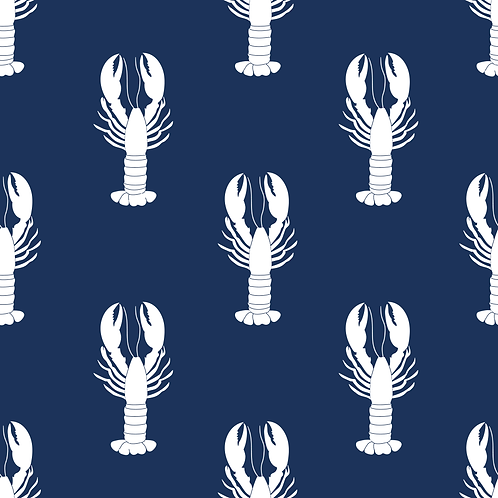 Navy Lobster Fabric