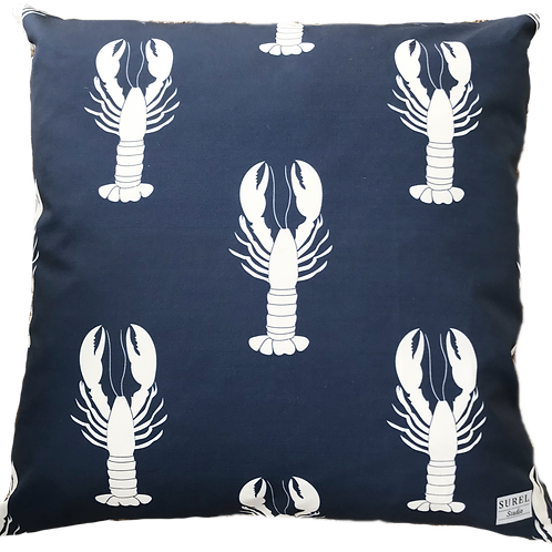Navy Lobster Pillow Cover