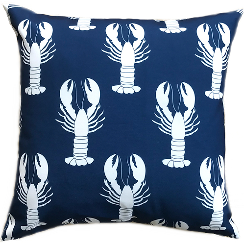 Navy Lobsters Canvas Pillow Cover - 20x20