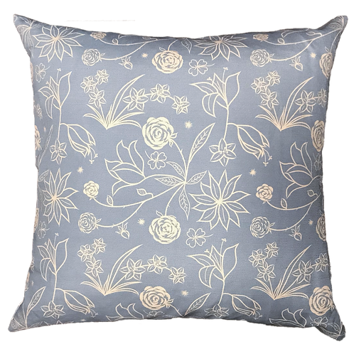 Floral Symphony on Blue Pillow Cover