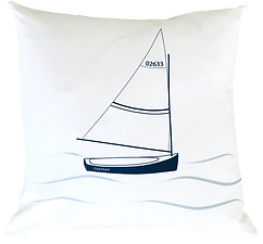 Chatham Sailboat on White Pillow Cover