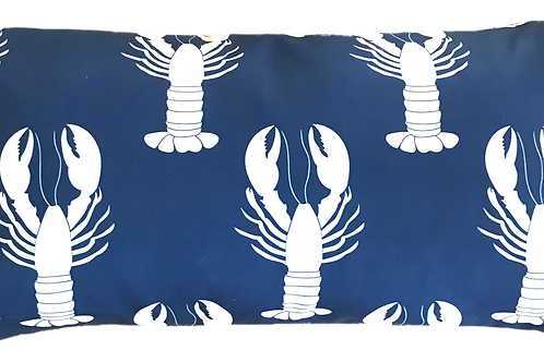 Navy Lobsters Canvas Pillow Cover - 12x22