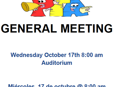 PS 165 General Meeting Wednesday, Oct. 19th!