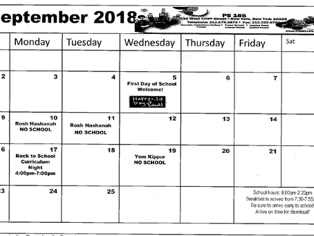 PS165 September 2018 School Calendar