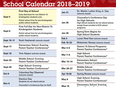 Official NYC DOE School Year 2018-2019 Calendar