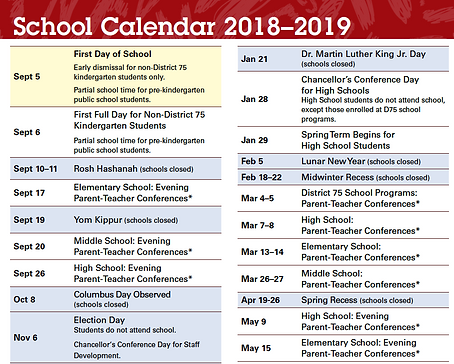 Official Nyc Doe School Year 2018 2019 Calendar Ps165
