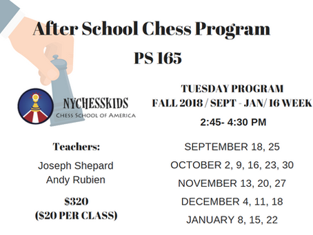 After School Chess Program Calendar Fall 2018