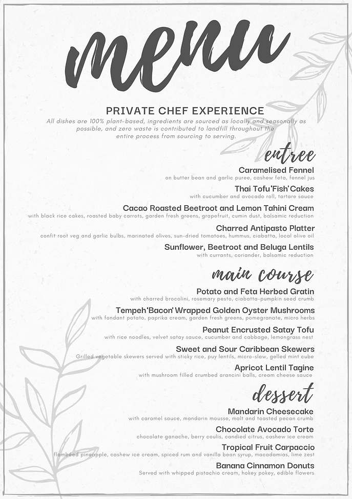 Private Chef Menu ~ The Sustainable Food Co. Vegan Fine Dining