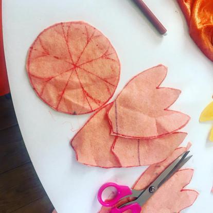 Cutting felt petals