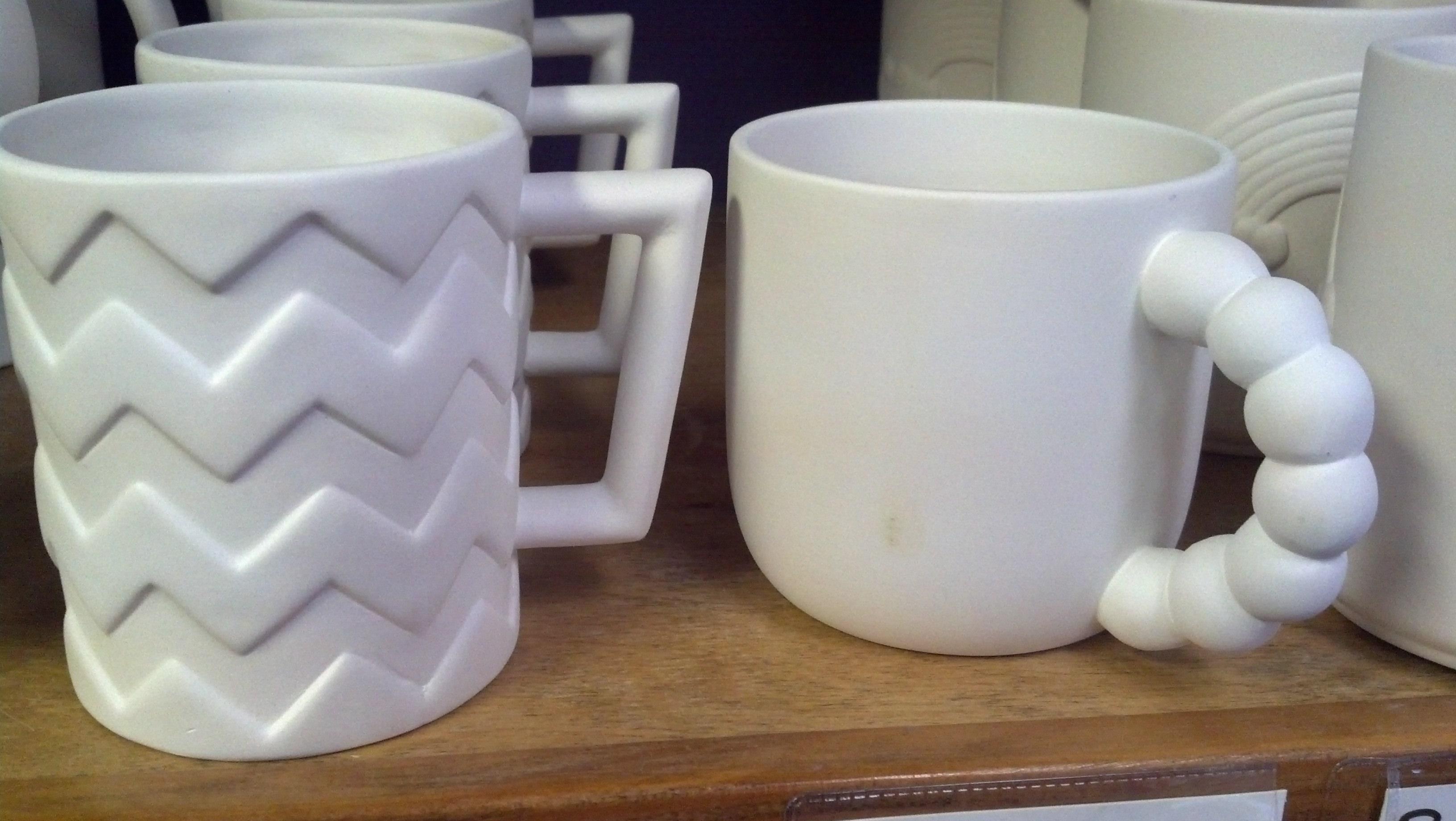 Chevron and Beaded Handle Mugs