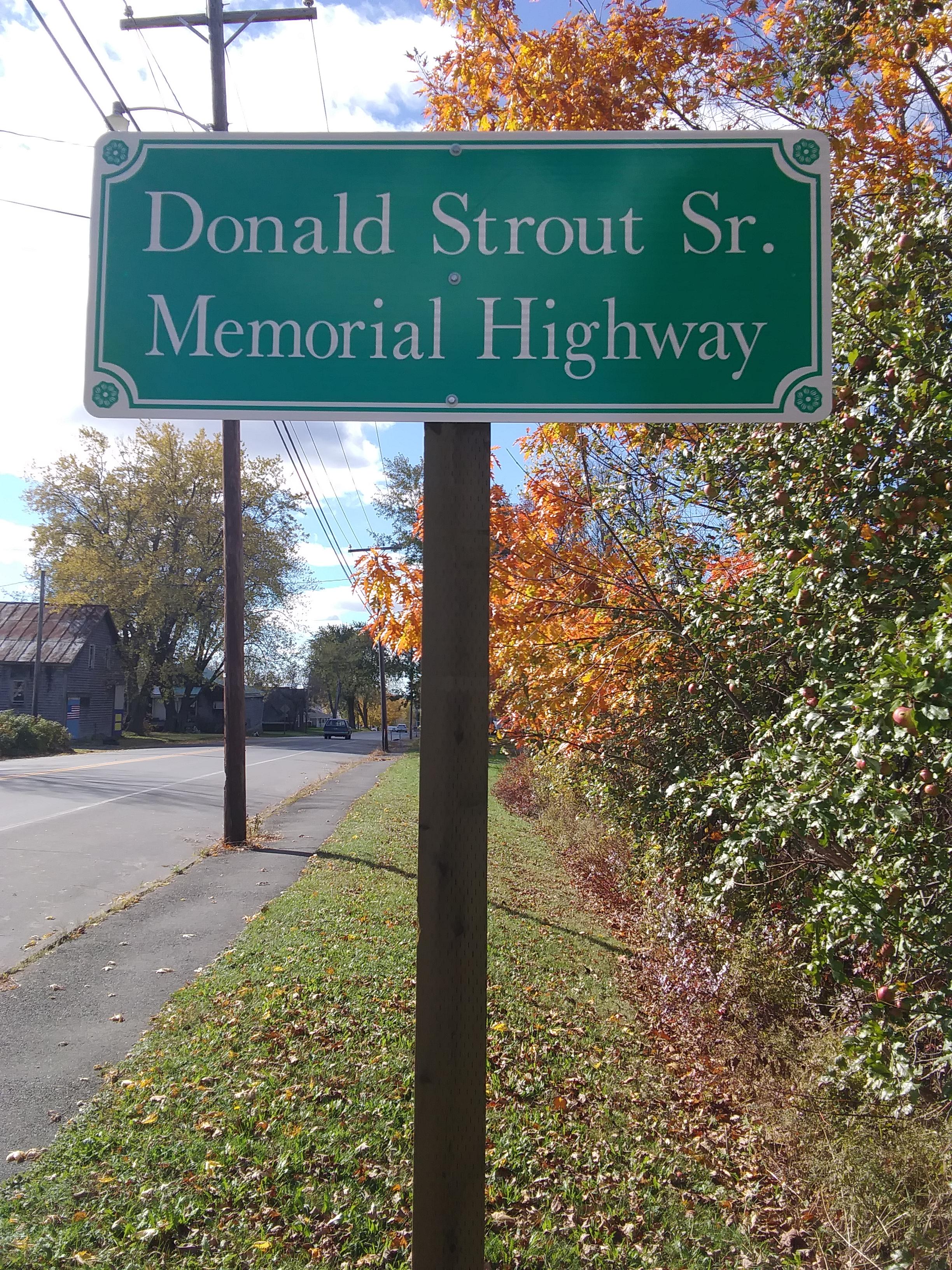 Donald Strout Sr. Memorial Sign