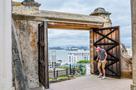 Candid at a fort in San Juan