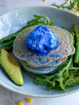 Blue savoury creamy vegan pancakes