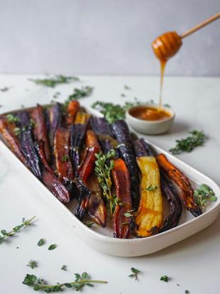 Roasted honey maple carrots