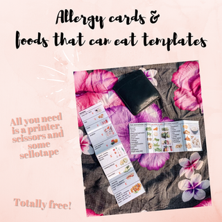 Allergy Cards & Foods that can eat templates