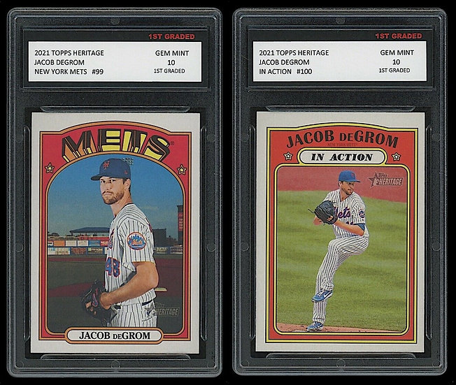 JACOB DEGROM 2021 TOPPS HERITAGE/IN-ACTION 2 CARD LOT
