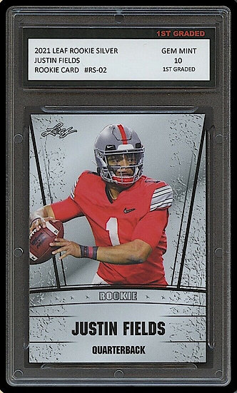 JUSTIN FIELDS 2021 LEAF ROOKIE SILVER 1ST GRADED 10 ROOKIE CARD OHIO STATE/BEARS