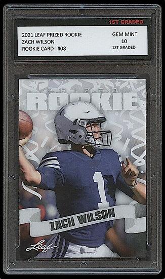 ZACH WILSON 2021 LEAF PRIZED 1ST GRADED 10 ROOKIE CARD NCAA NEW YORK JETS/BYU