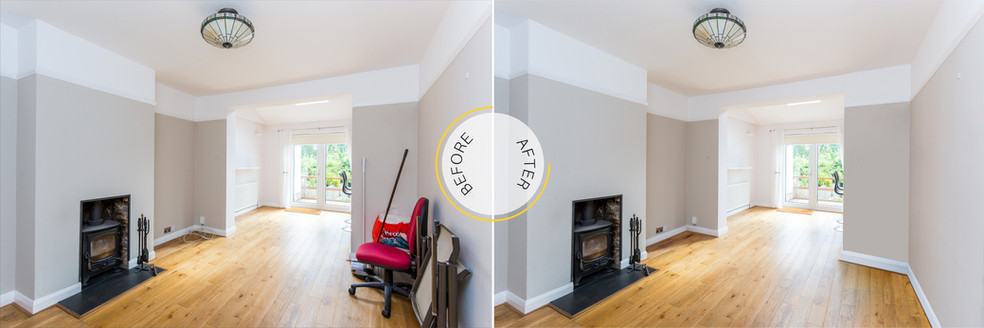 Professional Photo Editing - Before and After - Living Room