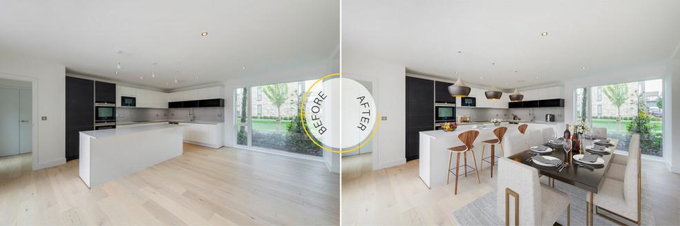 Interior Kitchen Diner Virtual Staging