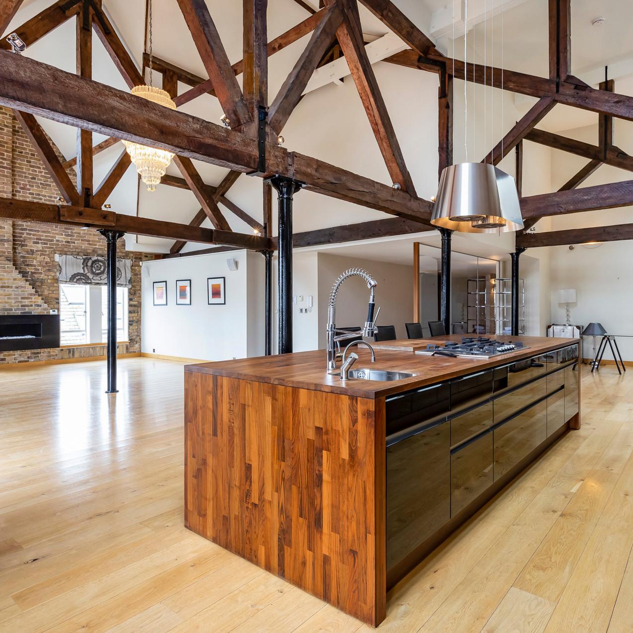 Open plan loft kitchen, Tower Hamlets, London