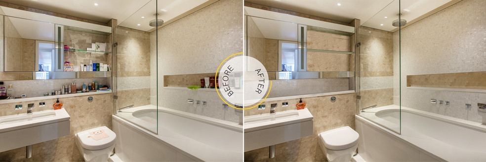 Professional Photo Editing - Before and After - Bathroom