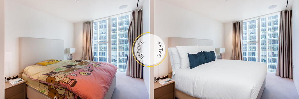 Professional Photo Editing - Before and After - Bedroom