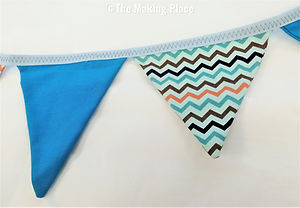 Brightly coloured bunting pennants
