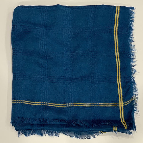 Cotton square scarf with border blue