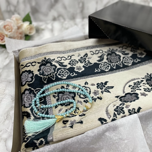 Charcoal Floral Arch Velvet Janamaz
