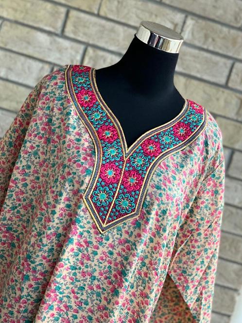 Teal & Pink Floral Kaftan/Lounge Wear