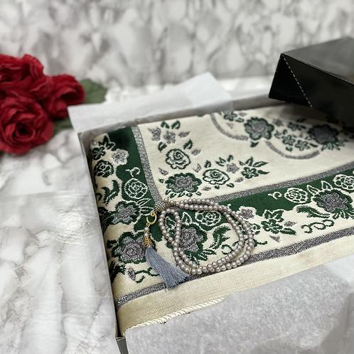 Emerald Floral Arch Velvet Janamaz